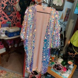 Tops - I heart raves sequin kimono one size fits all